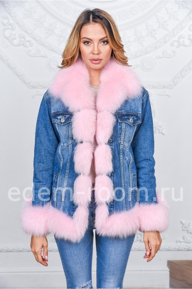 Женская осенне - весенняя куртка -джинсовка с мехом финского песца