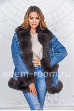 Утеплённая джинсовая куртка с мехом