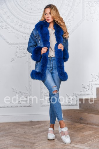 Модная куртка из джинсы с мехом песца