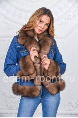 Джинсовая куртка украшенная песцом