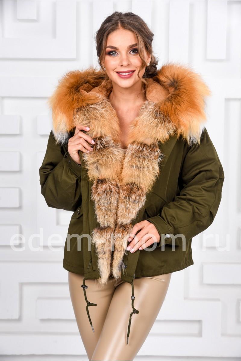 Зимняя куртка с мехом лисы
