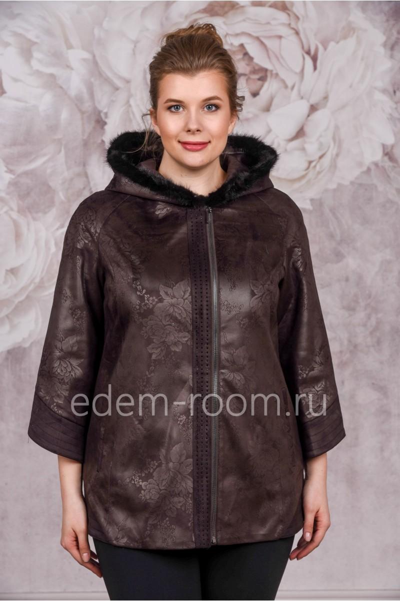 Женская куртка из эко-замши для больших размеров