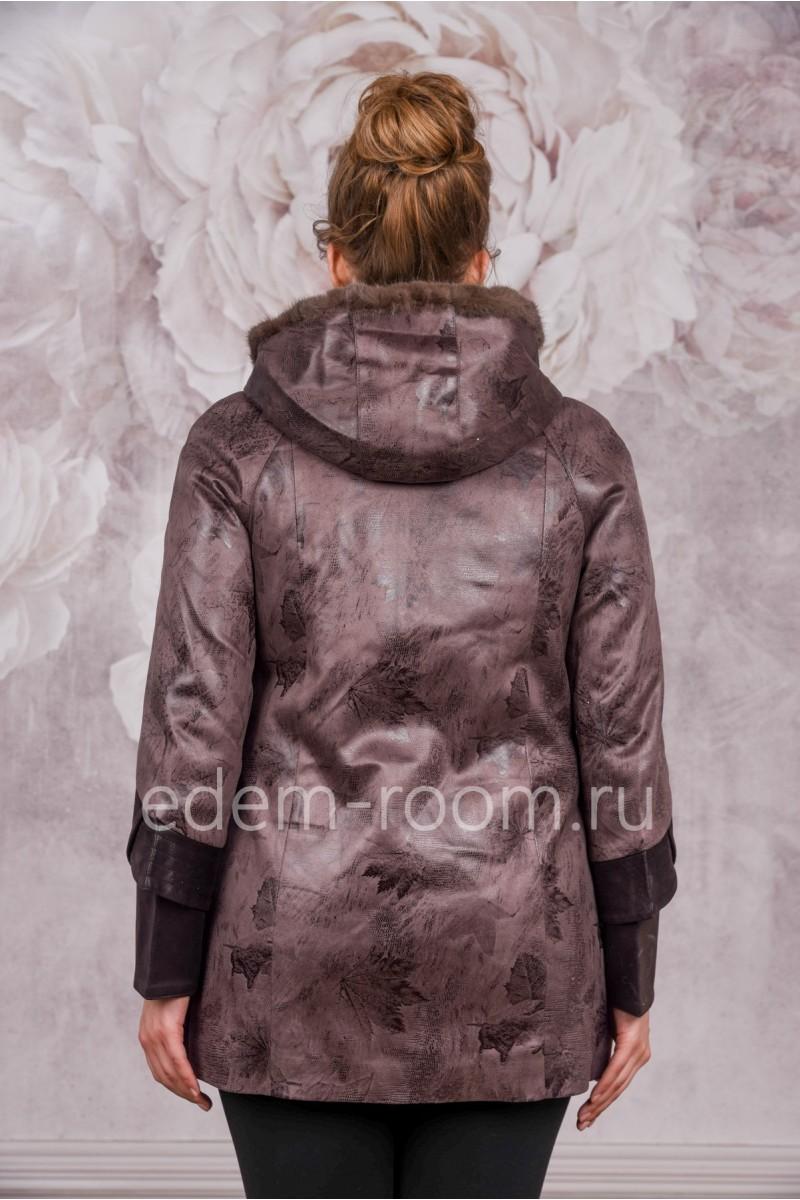 Демисезонная куртка из эко-замши для больших размеров