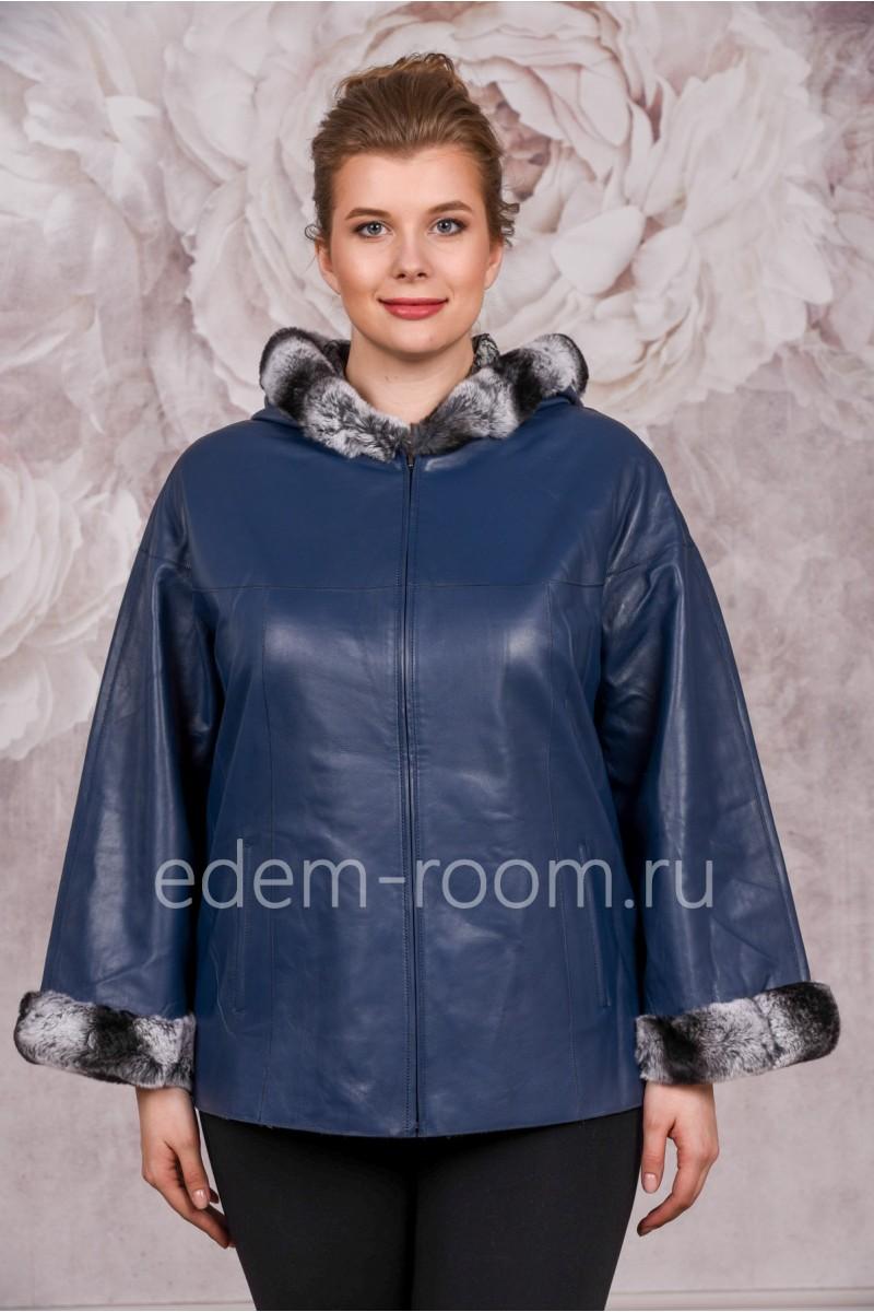 Синяя кожаная куртка на осень-весну