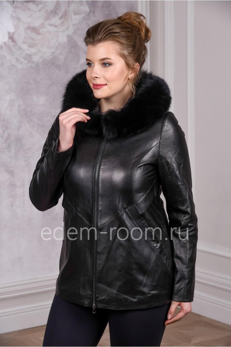 Модная демисезонная кожаная куртка