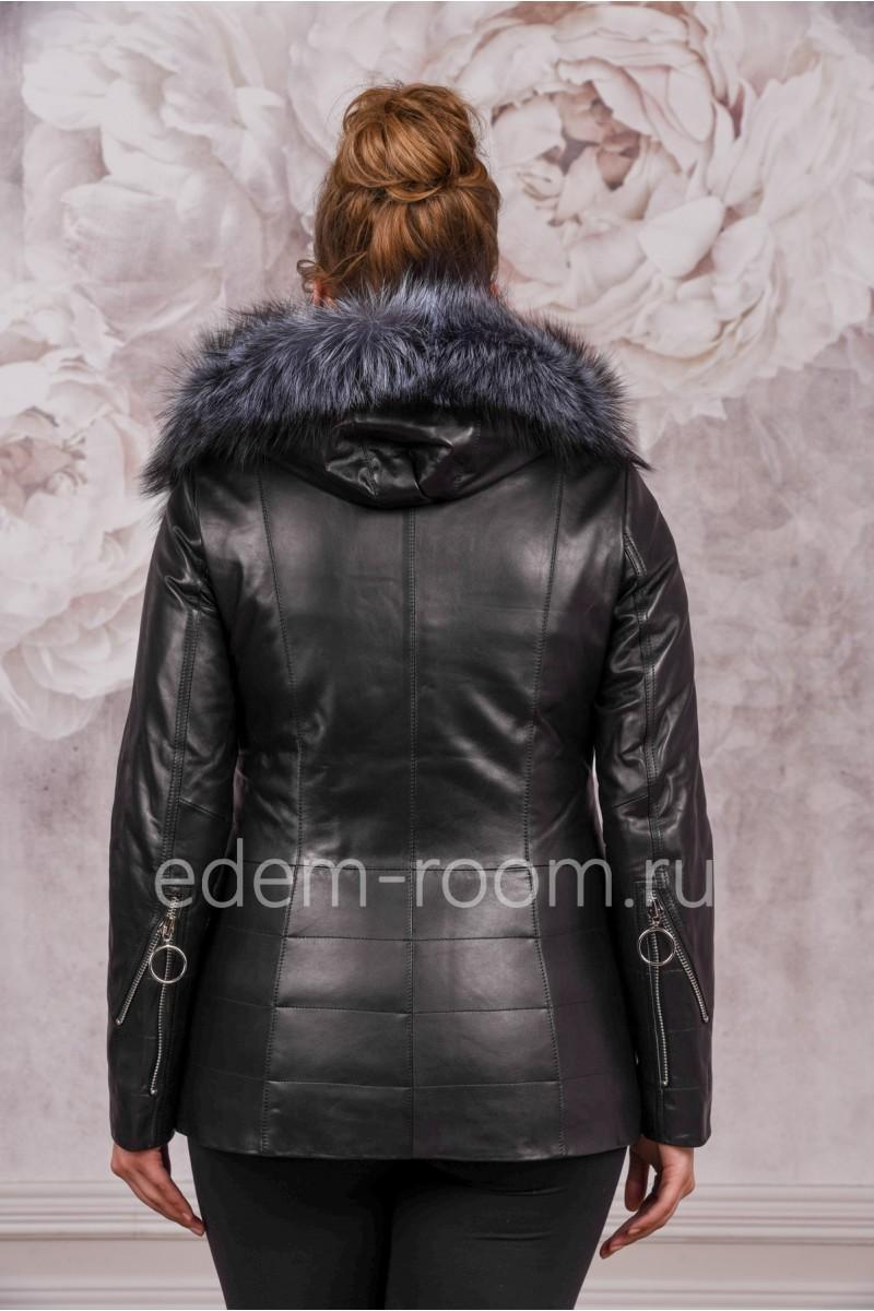 Утеплённая кожаная куртка с капюшоном