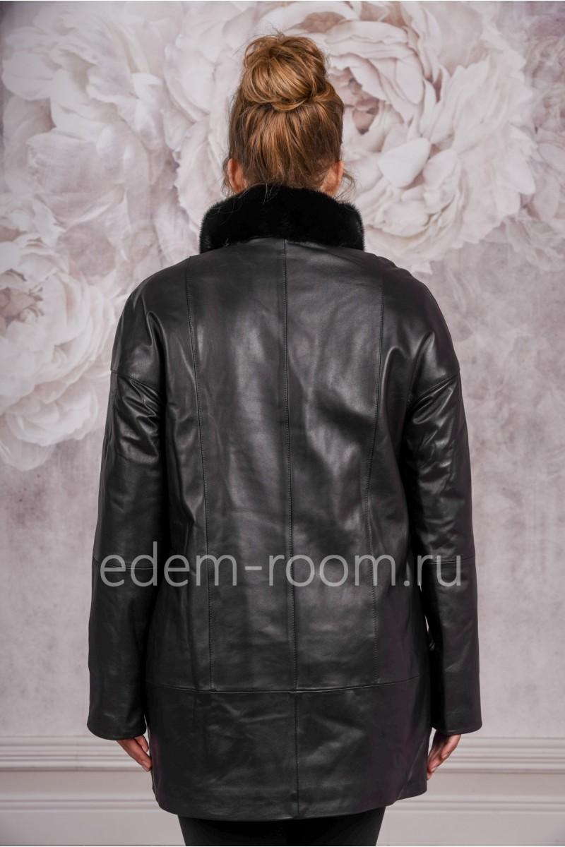 Кожаная демисезонная куртка больших размеров