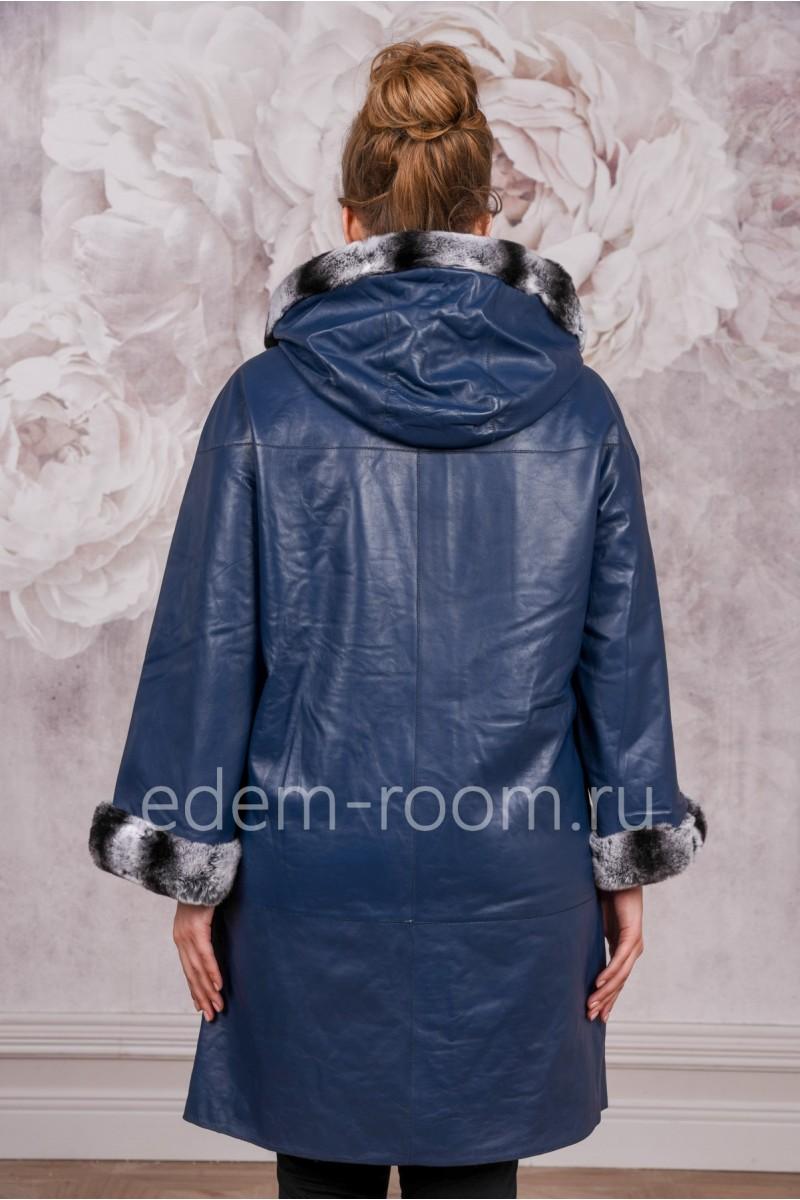 Демисезонный кожаный плащ для дам