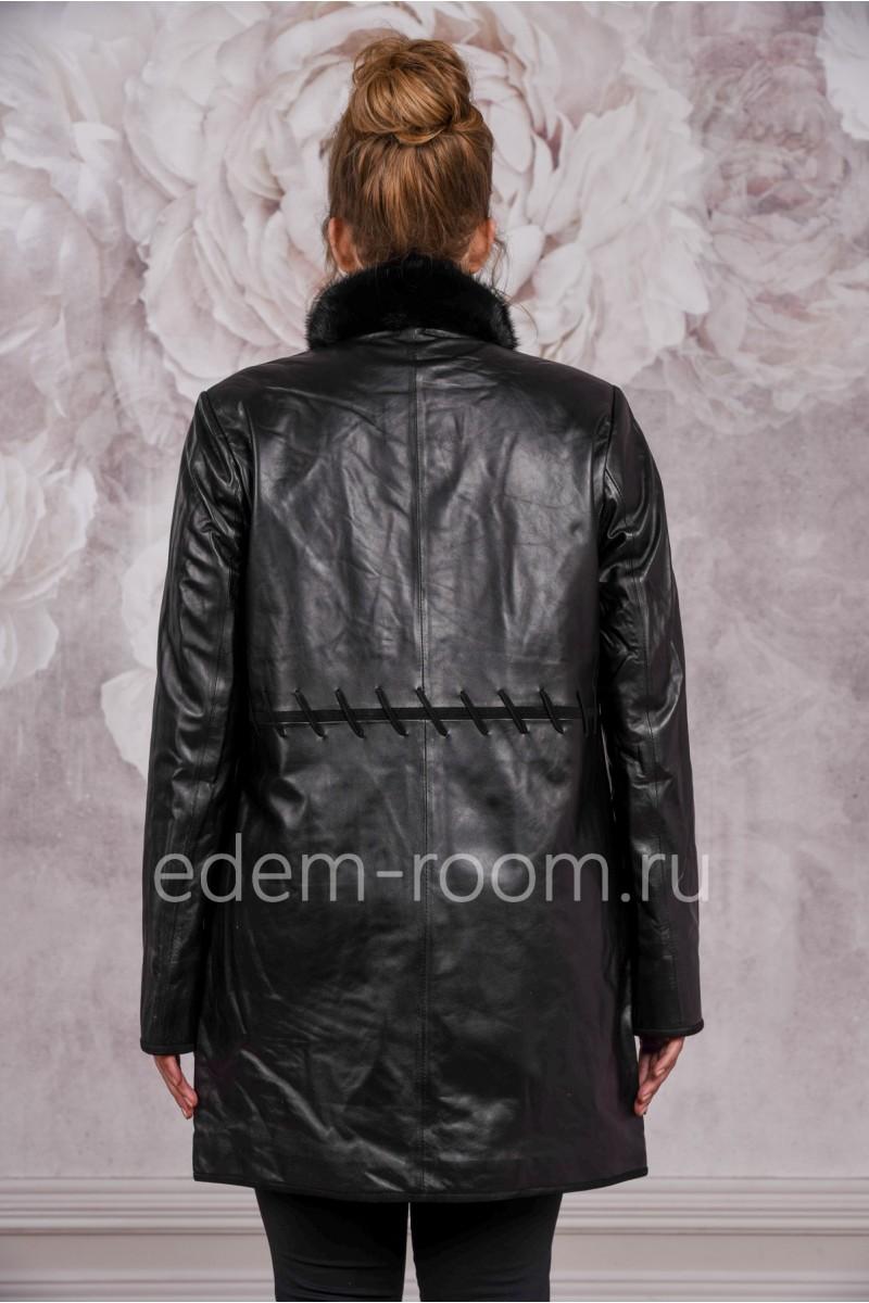 Демисезонный кожаный плащ для больших размеров