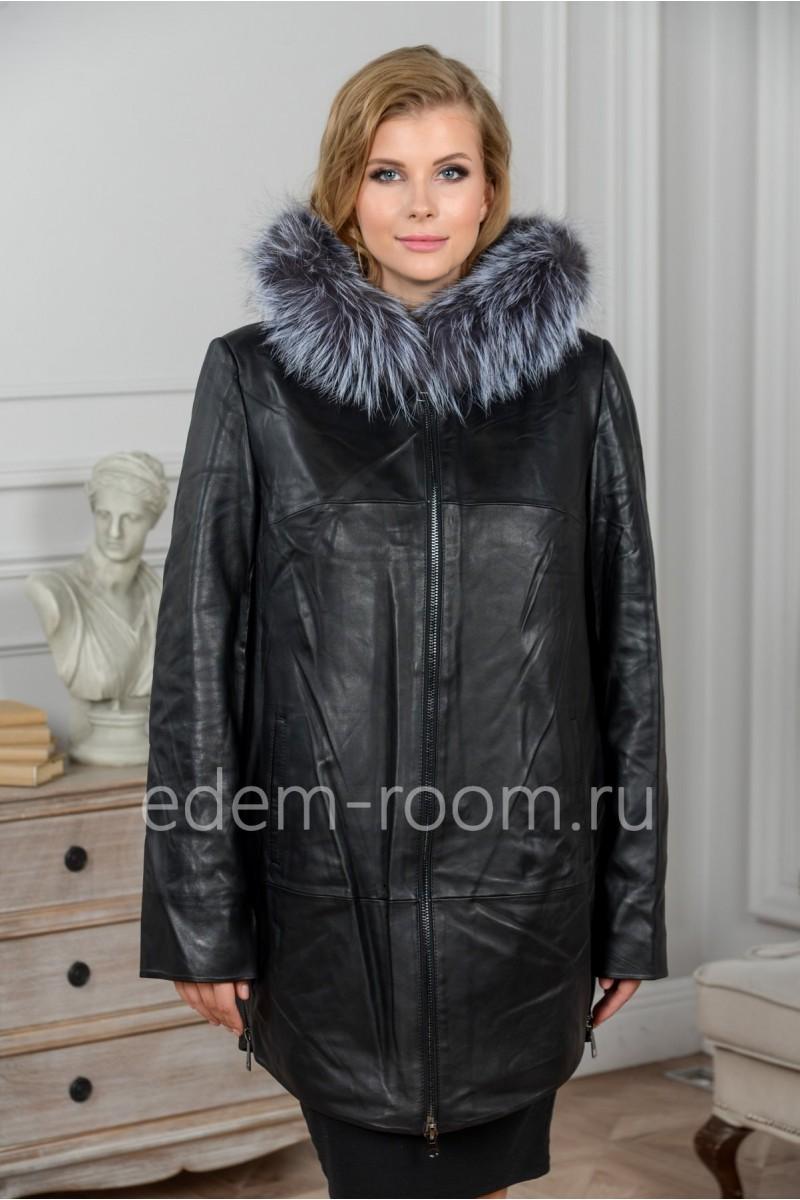 Утеплённая кожаная куртка с меховым капюшоном
