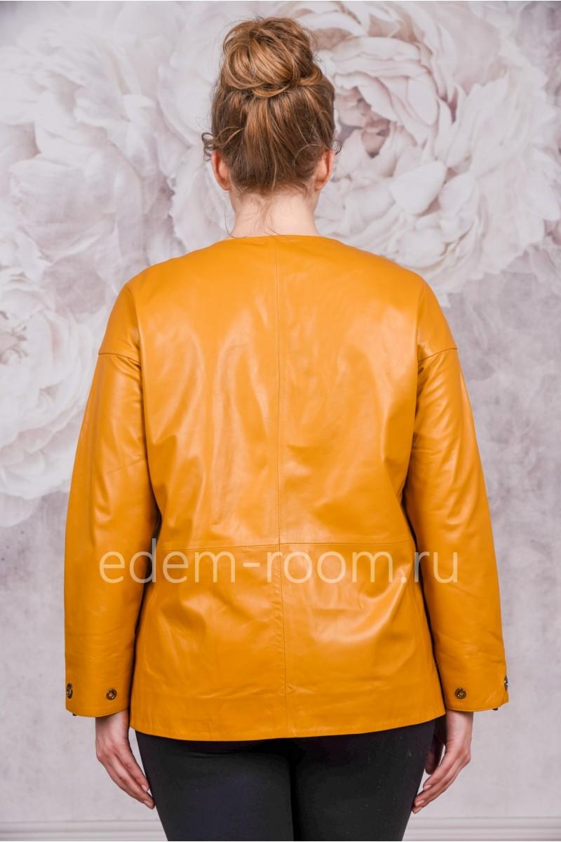 Кожаная куртка для больших размеров желтого цвета