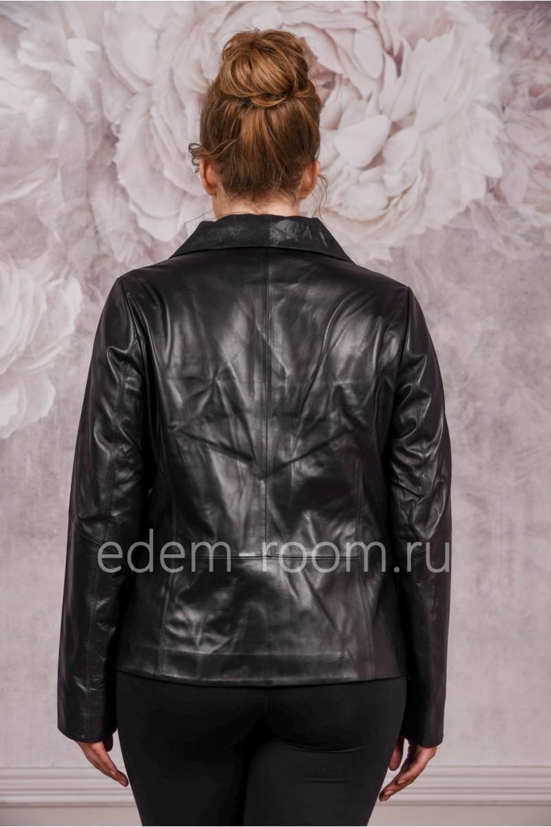 Куртка из кожи со стильным воротником