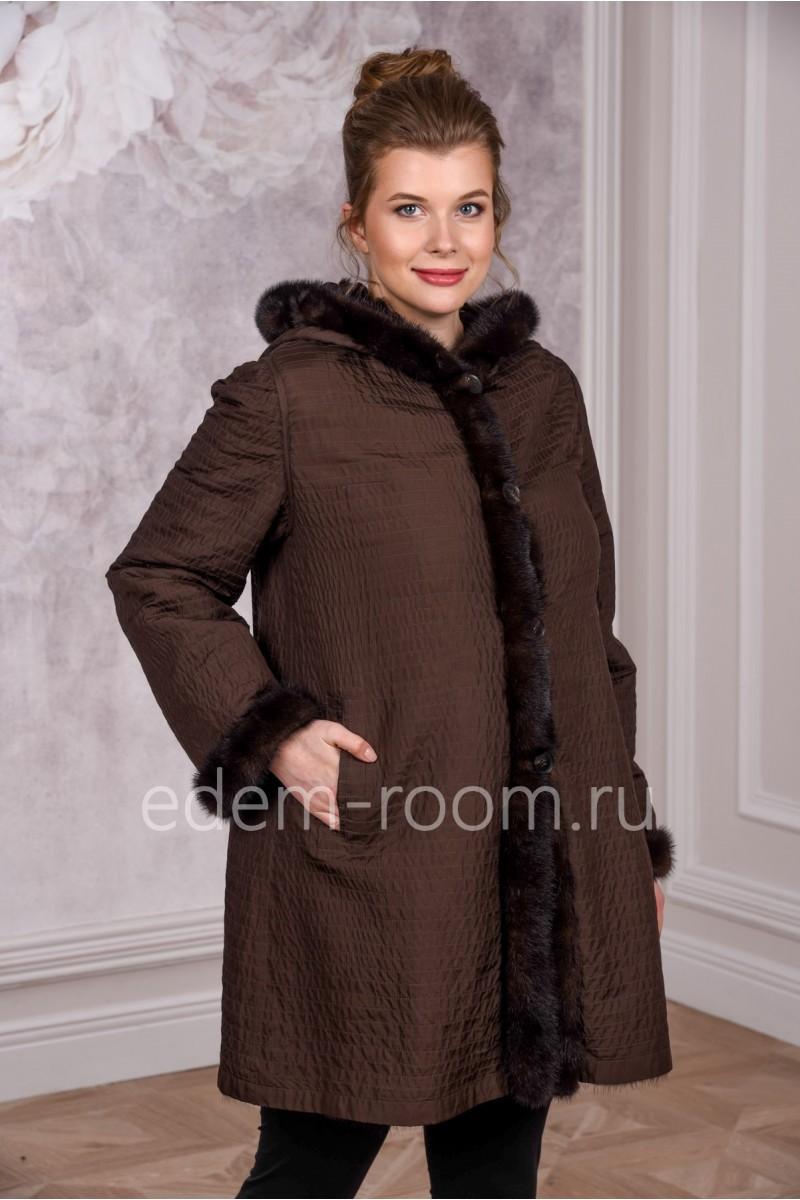 Теплое меховое пальто на норке