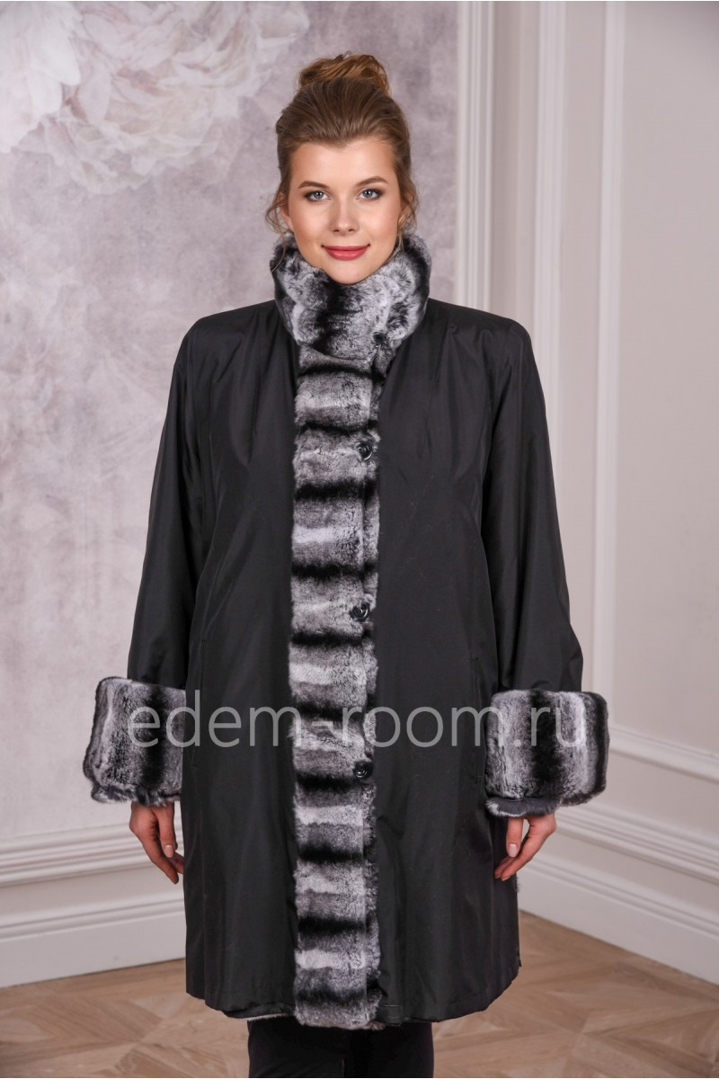 Пальто на мехе кролика для  больших размеров