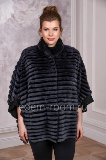 Укороченное меховое пальто из кролика
