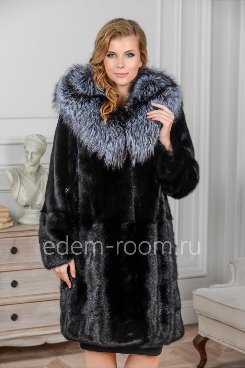 Женская норковая шуба с капюшоном из чернобурки