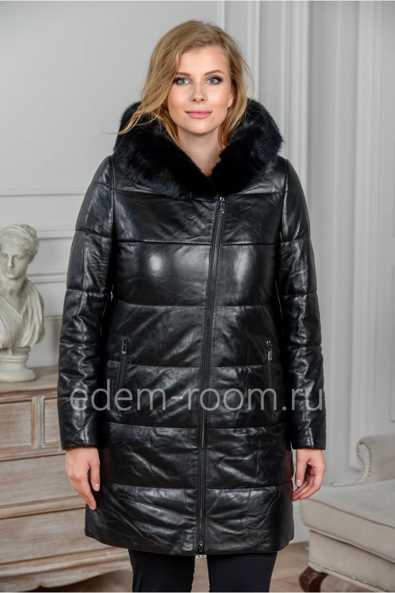 Зимнее кожаное пальто