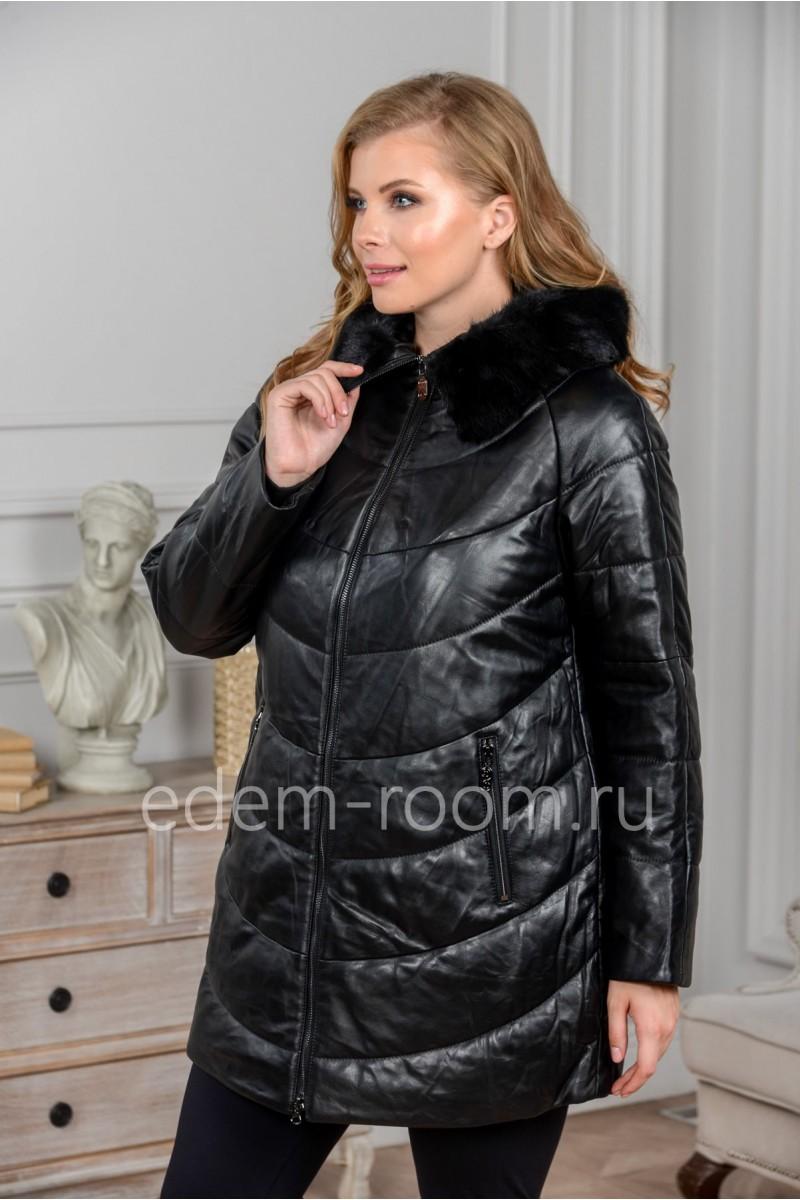Женская утеплённая кожаная куртка