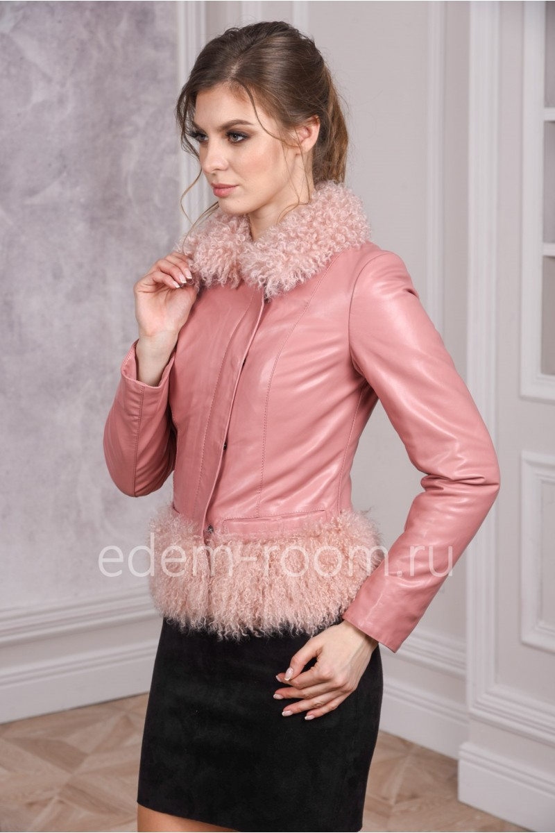 Куртка из эко-кожи розового цвета