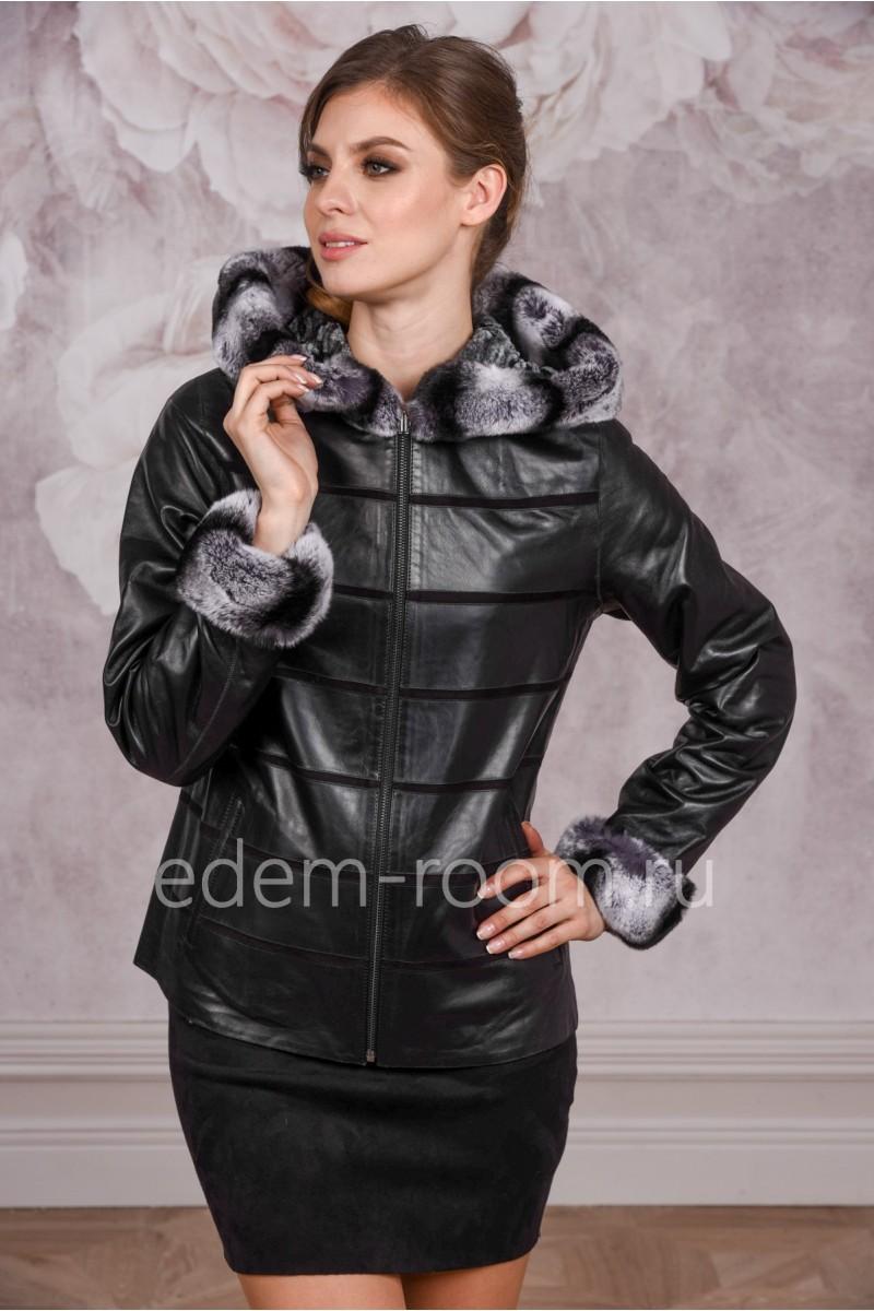 Кожаная куртка с мехом кролика