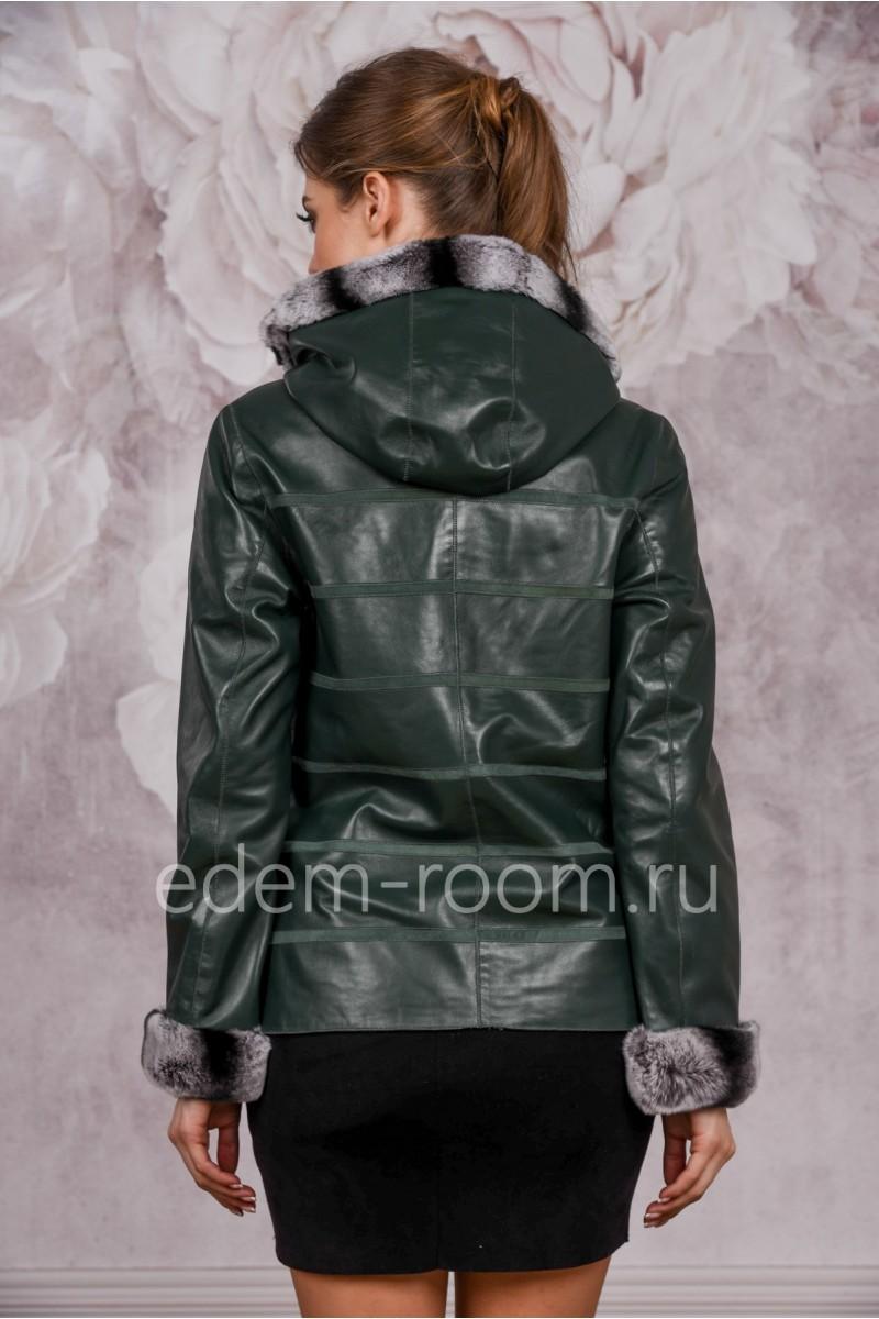 Зеленая кожаная куртка осень-весна