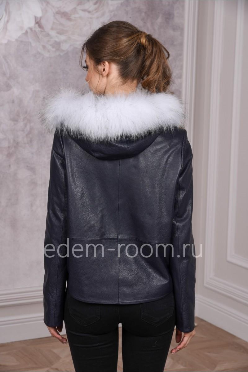 Кожаная куртка c капюшоном