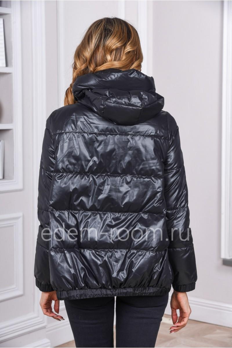 Чёрная куртка на весну и осень на молнии
