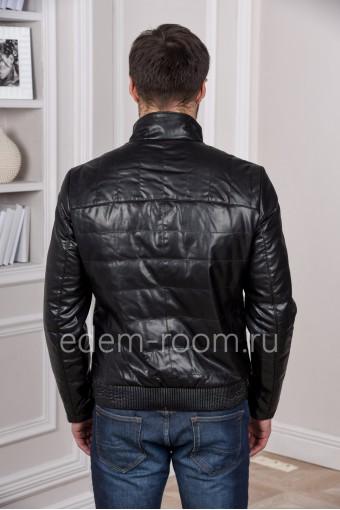 Утеплённая демисезонная кожаная куртка