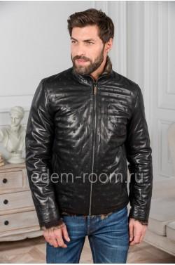 Куртка кожаная с подкладкой из тоскана