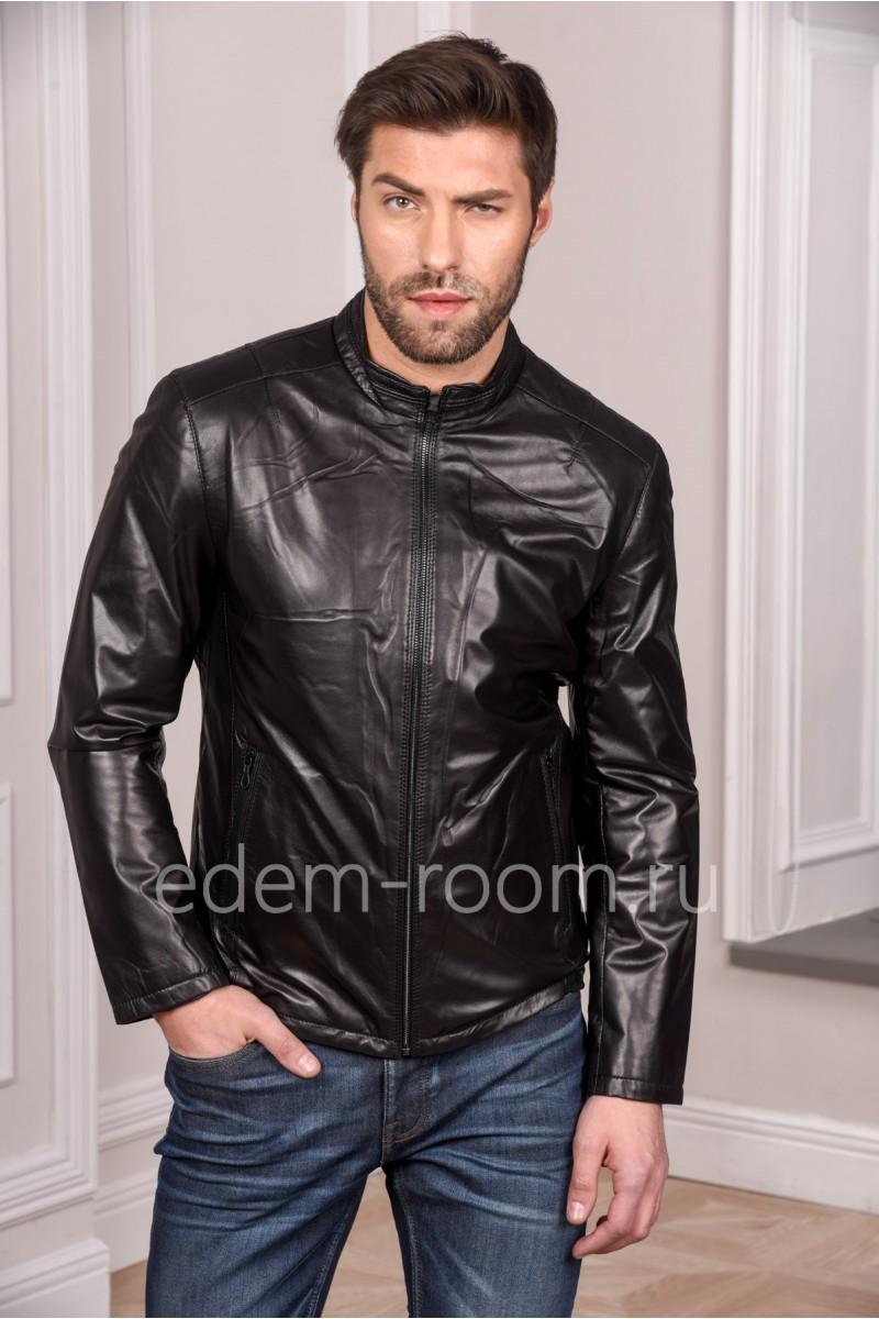 Мужская черная куртка кожаная из натуральной кожи на весну