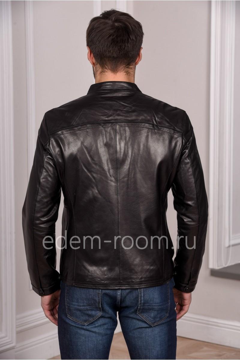 Осенне - весенняя мужская куртка из натуральной кожи. Черный цвет