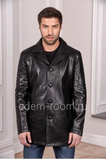Черная мужская куртка из натуральной кожи удлиненная