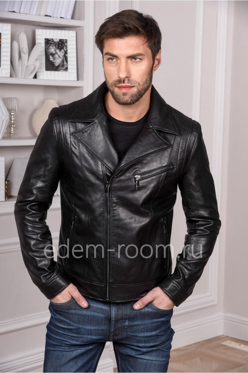 Мужская черная куртка из натуральной кожи легкая, мода 2019