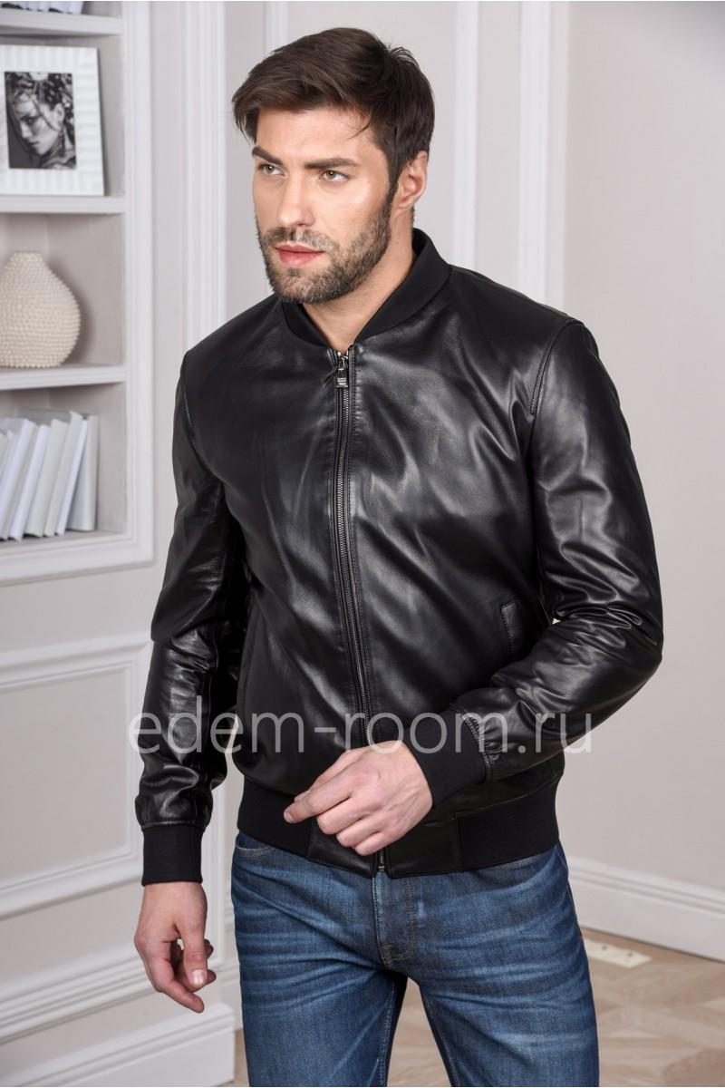 Мужская черная кожаная куртка на резинке
