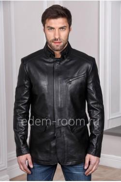 Черная куртка кожаная на мужчину из натуральной кожи