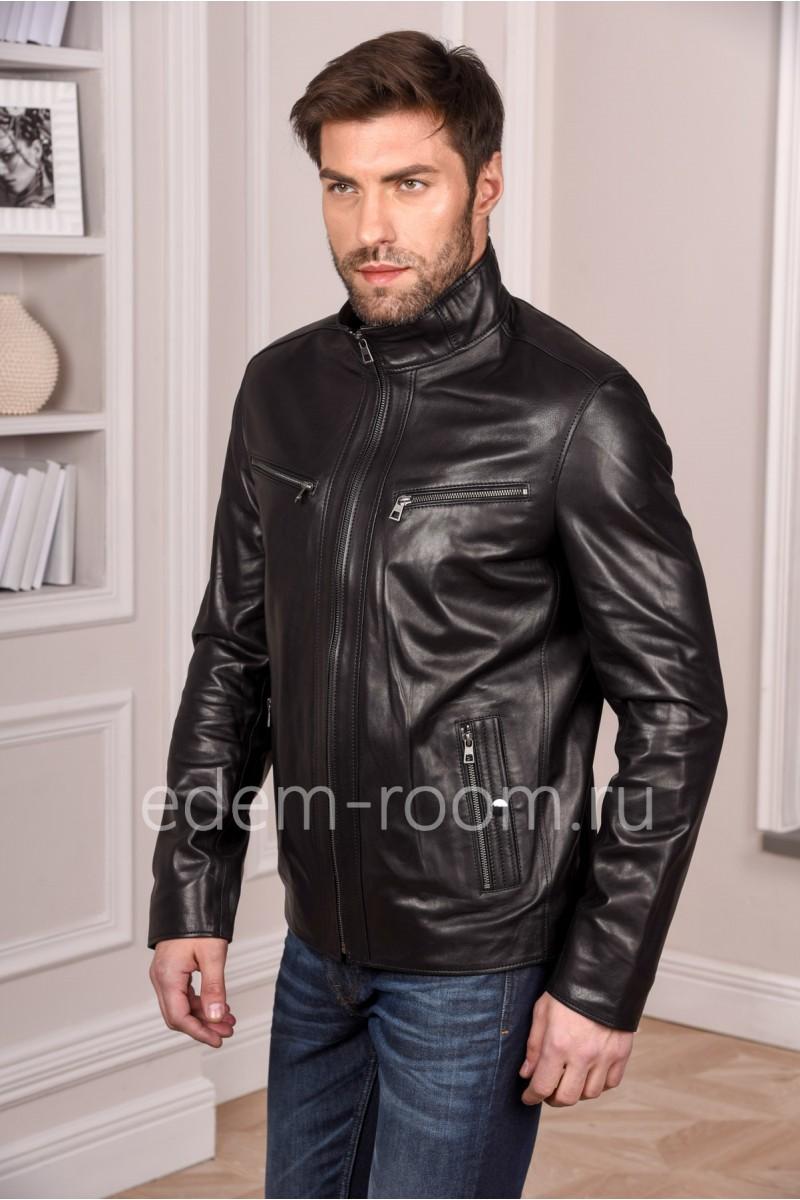 Стильная мужская кожаная куртка молодежная. Цвет черный
