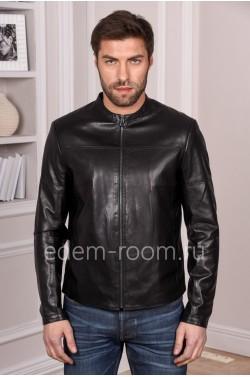 Черная мужская кожаная куртка короткая из натуральной турецкой кожи