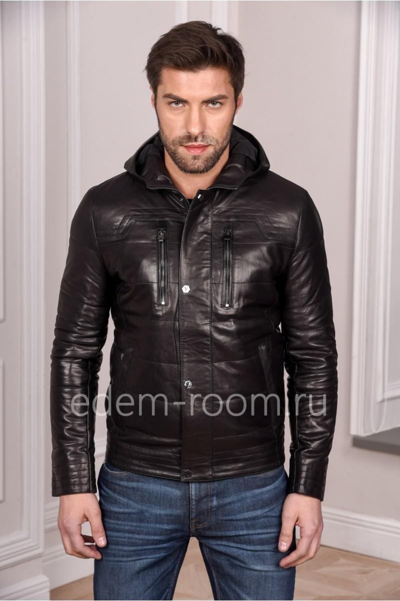 Мужская кожаная куртка черная с капюшоном