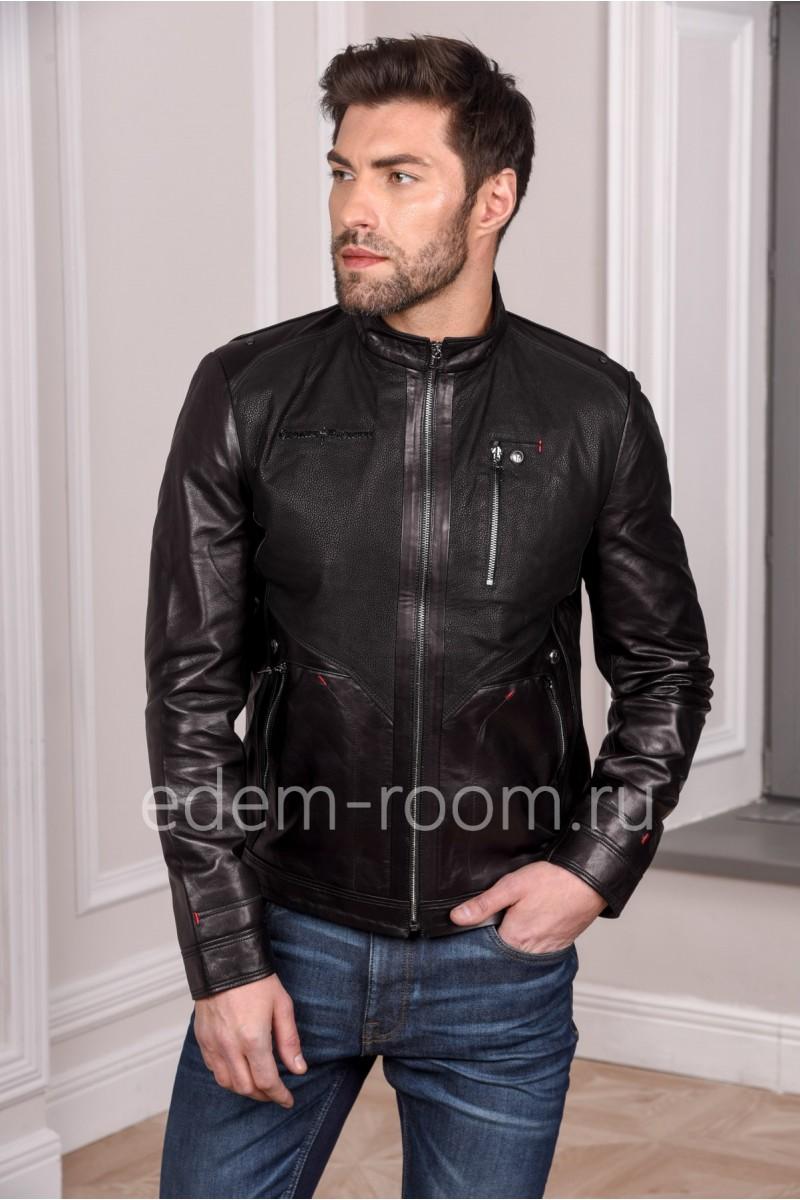Мужская куртка из натуральной кожи черного цвета