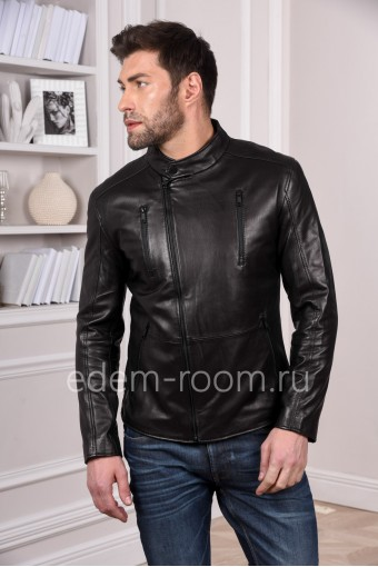 Черная современная куртка из натуральной кожи для мужчин легкая