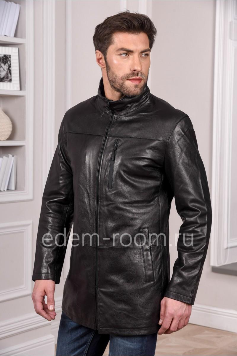 Мужская черная кожаная куртка удлиненная - натуральная кожа