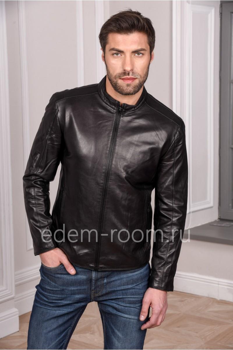 Черная кожаная куртка мужская из натуральной кожи