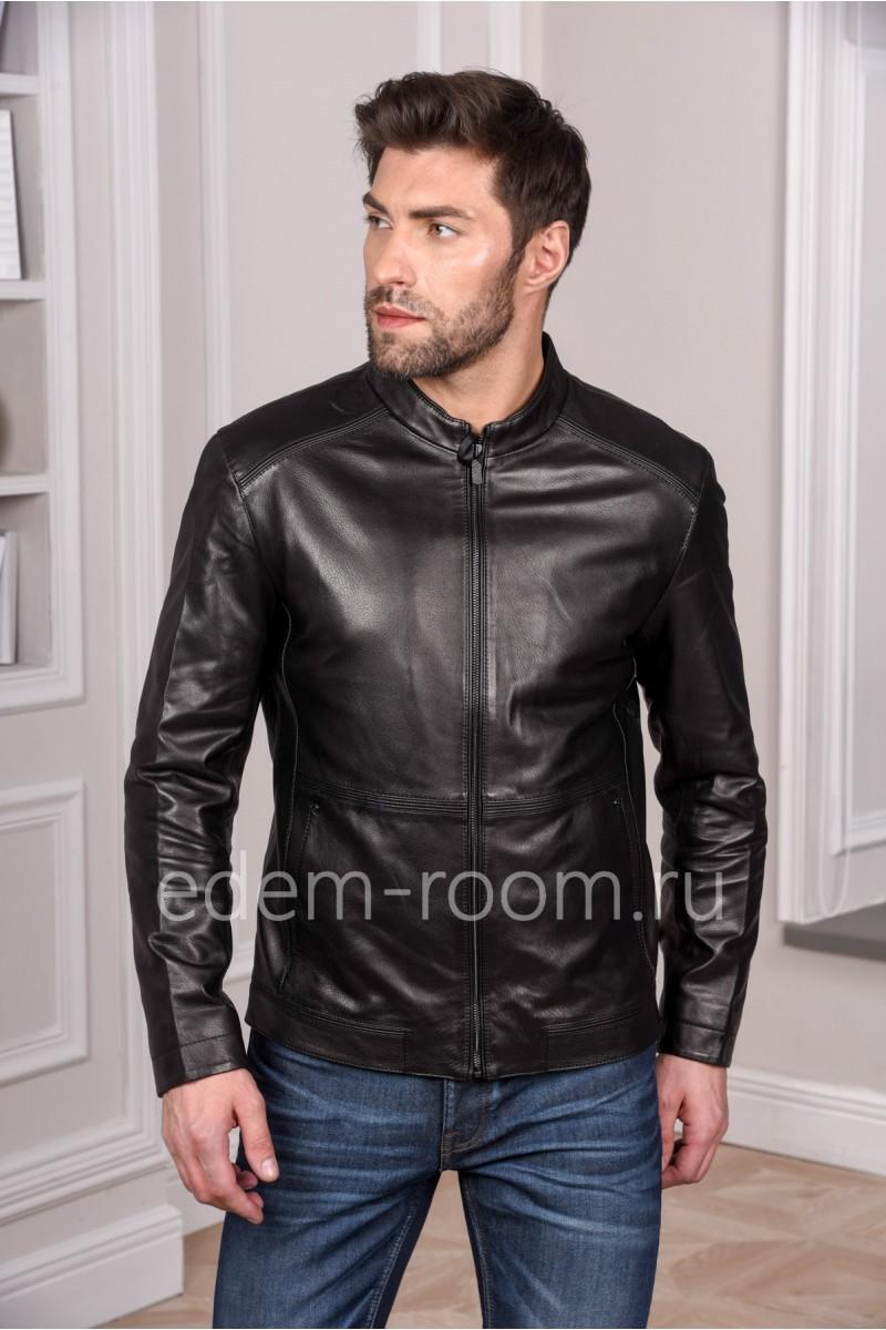 Мужская кожаная куртка из натуральной кожи черного цвета