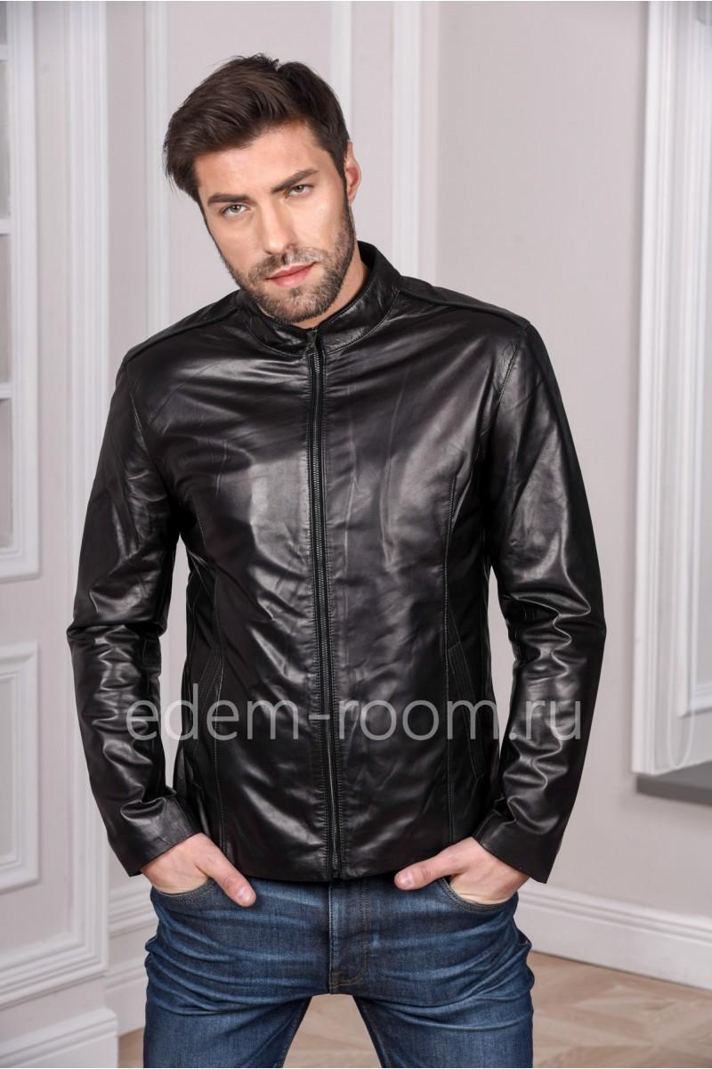 Классическая куртка из кожи мужская. Черный цвет.
