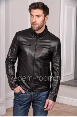 Мужская кожаная куртка из натуральной кожи на весну, черного цвета
