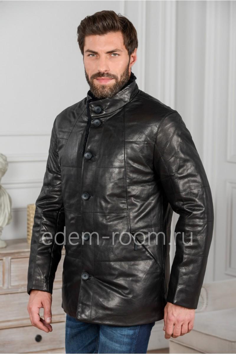 Зимняя кожаная куртка на пуху