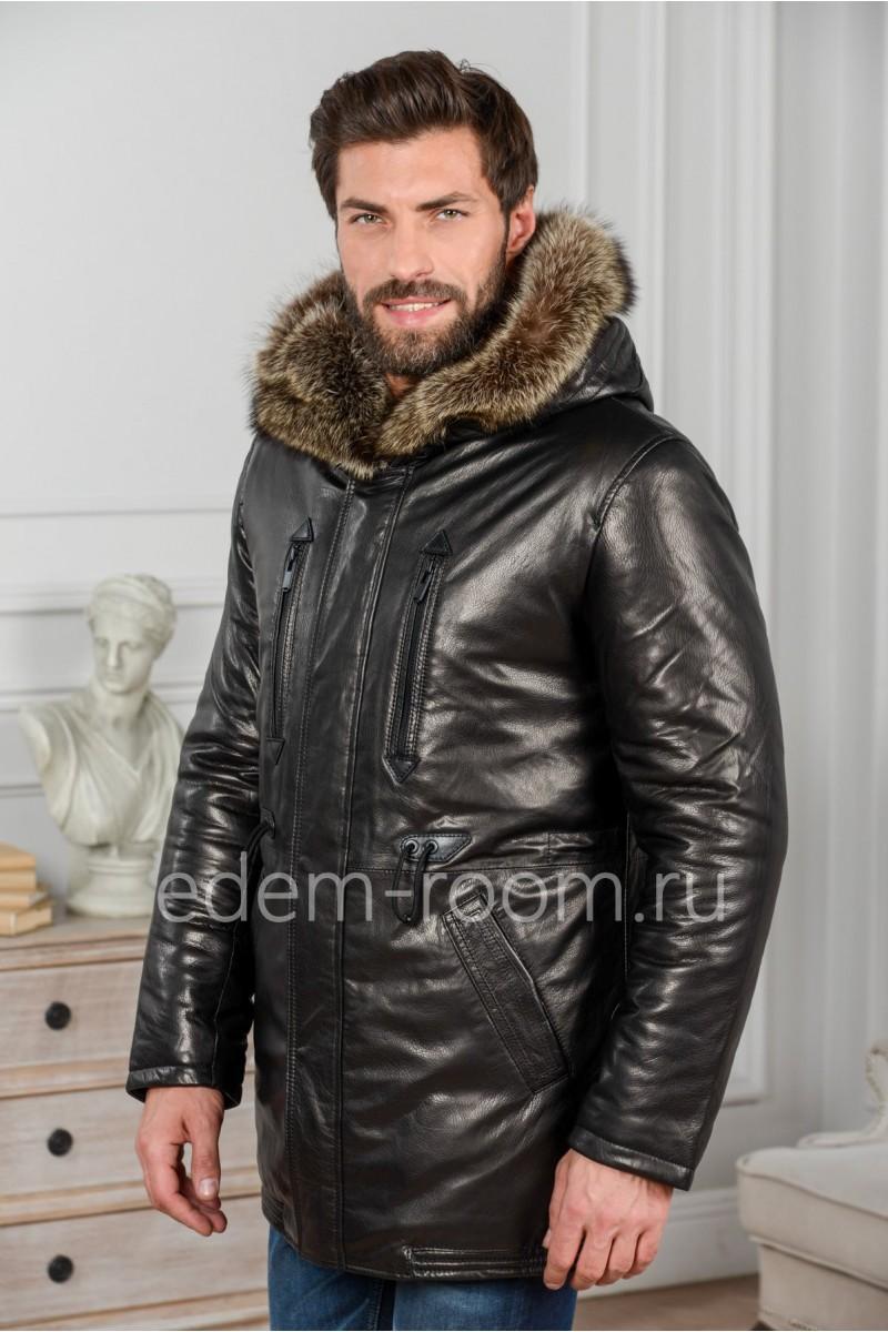 Мужской кожаный пуховик для зимы
