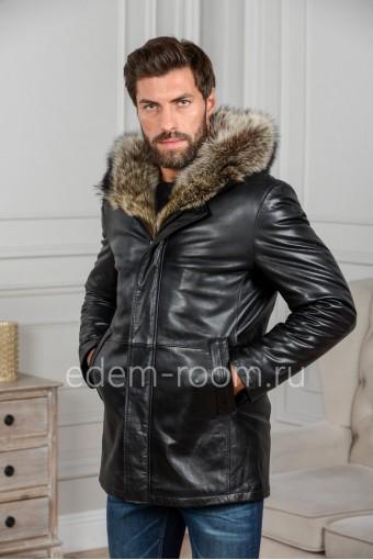 Мужская зимняя куртка из кожи
