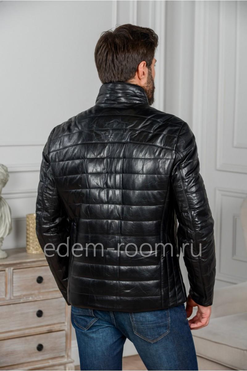 Утеплённая кожаная куртка без капюшона