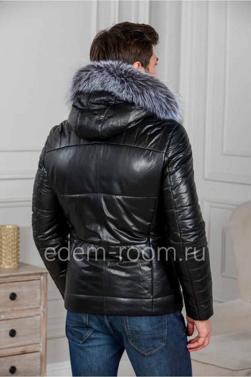 Мужская кожаная куртка с капюшоном и мехом